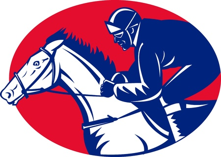 thoroughbred: illustration of a horse and jockey racing side view done in retro woodcut style set inside oval Stock Photo
