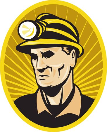 COAL MINER: illustration of a coal miner with hardhat facing front set inside oval with sunburst on isolated background