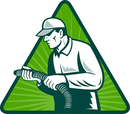 illustration of a tradesman home insulation technician holding a hose viewed from side set inside triangle with sunburst in background