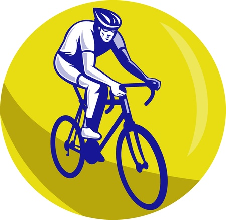 racing bike: illustration of a Cyclist riding racing bike set inside circle viewed from front done in retro woodcut style. Stock Photo