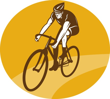 racing bike: illustration of a Cyclist riding racing bike set inside oval viewed from front done in retro woodcut style.