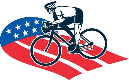 road bike: illustration of a Cyclist riding racing bike set inside oval viewed from side done in with star and stripes