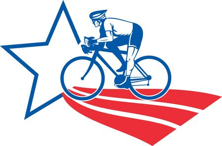 racing bike: illustration of a Cyclist riding racing bike set inside oval viewed from side done in with star and stripes