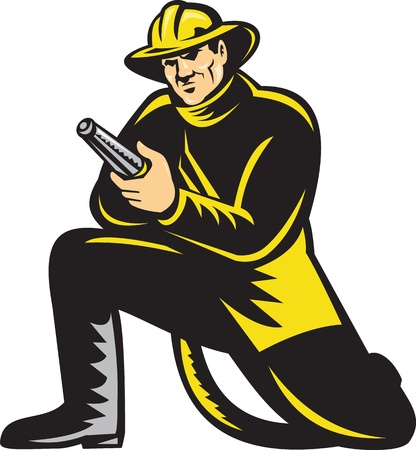 mangera: ilustración de una manguera de bombero, bombero de rodillas de fuego con el objetivo vistos de frente en fondo blanco Foto de archivo