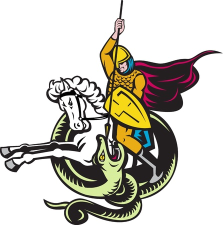spear: illustration of a knight riding horse with shield and spear fighting snake dragon done in retro style on isolated white background