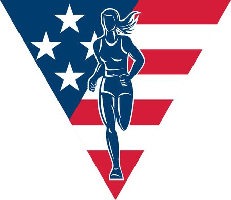 road runner: illustration of a illustration of a female Marathon road runner jogger fitness training road running with American flag stars and stripes in background inside triangle