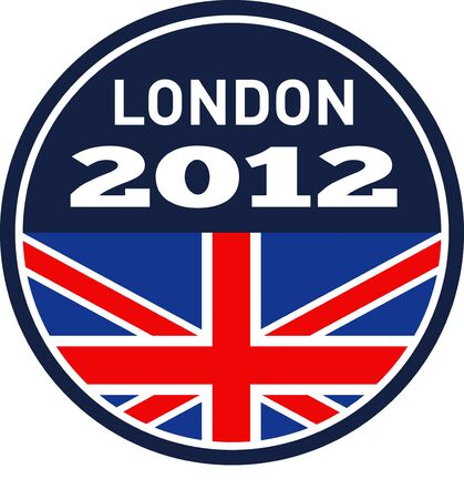 illustration of a an icon with Great Britain  British Union Jack flag and words London 2012 on isolated white background
