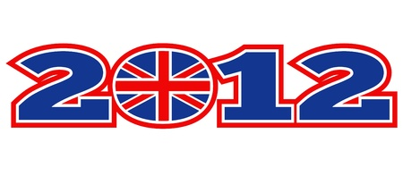 great britain: illustration d'une ic�ne d'un avec la Grande-Bretagne British Union Jack drapeau et les mots de 2012 � Londres sur fond blanc isol�