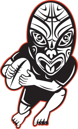 rugby player: cartoon illustration of a Rugby player running wearing Maori mask wearing black on isolated white background Stock Photo
