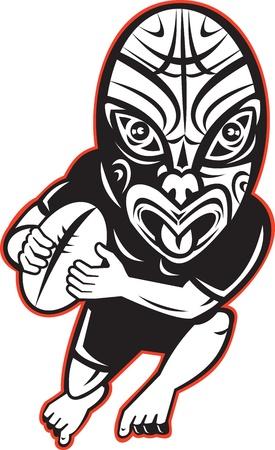 maories: ilustración de dibujos animados de un jugador de rugby corriendo con una máscara maorí vestido de negro sobre fondo blanco