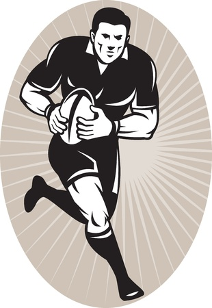 illustration of a Rugby player wearing all black running with ball viewed from front set inside ellipse with sunburst