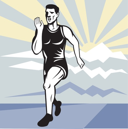 illustration of a illustration of a Marathon road runner jogger fitness training viewed from front set inside square with mountain and sunburst in background done in retro style. illustration