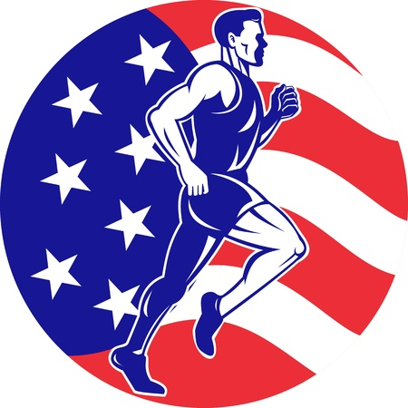 road runner: illustration of a illustration of a male Marathon road runner jogger fitness training road running with American flag stars and stripes in background inside circle Stock Photo