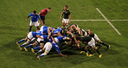 AUCKLAND-Sept. 22: Rugby World Cup 2011 players in the match between South Africa and Namibia at the North Shore Stadium in Auckland, New Zealand on Thursday September 22, 2011. Stock Photo - 10651017