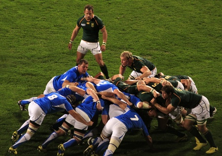 AUCKLAND-Sept. 22: Rugby World Cup 2011 players in the match between South Africa and Namibia at the North Shore Stadium in Auckland, New Zealand on Thursday September 22, 2011.
