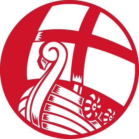 vikingo: ilustraci�n de un barco barco vikingo con la cruz en la vela y el conjunto de escudo dentro del c�rculo