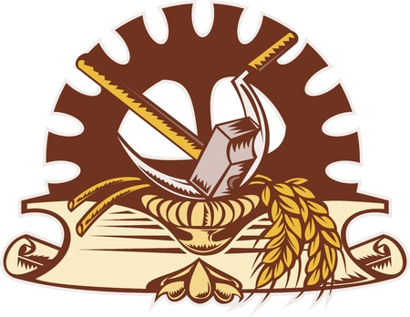 hammer and sickle: illustration of a hammer ,sickle, wheat and mechanical gear in background with scroll on isolated white background done in retro woodcut style.