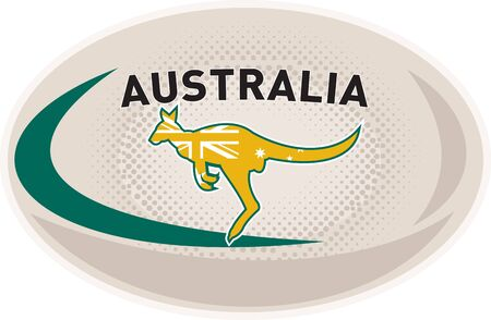 illustration of a rugby ball with Australian kangaroo wallaby and words Australia on isolated white background
