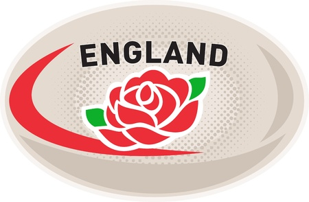 illustration of a rugby ball with English rose flower and words England on isolated white background