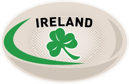 illustration of a rugby ball with Irish shamrock clover leaf and words Ireland on isolated white background
