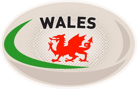 welsh: illustration of a rugby ball with Welsh dragon and words Wales on isolated white background
