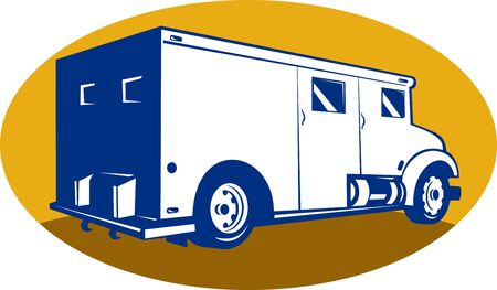 armored car: illustration of an armored car viewed from rear right side set inside an ellipse