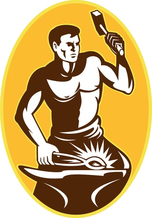 blacksmith: illustration of a blacksmith with hammer striking anvil viewed from front set inside oval done in retro style