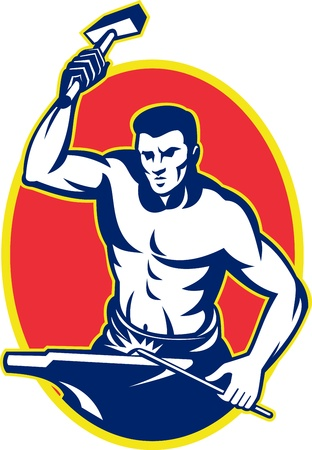 striking: illustration of a blacksmith with hammer striking anvil viewed from front set inside oval done in retro style