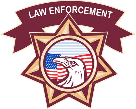 law enforcement: illustration of an American eagle with stars and stripes flag set inside a heptagram seven pointed  star on isolated white background with words law enforcement