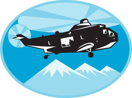 helicopter rescue: illustration of a helicopter chopper search and rescue with mountains in background set inside ellipse done in retro style