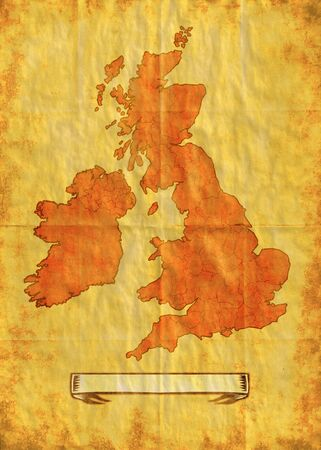 illustration drawing of a map of the British Isles showing Northern Ireland,Ireland,Wales,Scotland and England with grunge texture background illustration