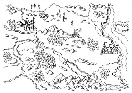 illustration drawing of a map of a fantasy land showing rivers, mountain range,trees,forest,monastery,castles,road,sea,coast,land on white background