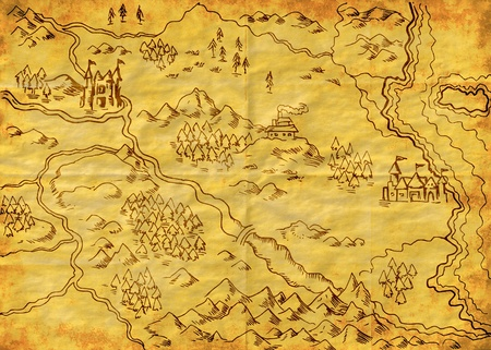 forest road: illustration drawing of a map of a fantasy land showing rivers, mountain range,trees,forest,monastery,castles,road,sea,coast,land on grunge texture background Stock Photo