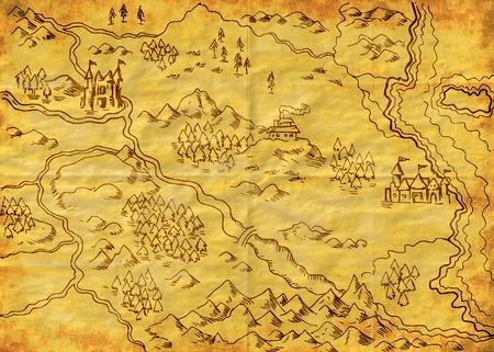 ilustración dibujo de un mapa de una tierra de fantasía que muestra ríos, montañas, árboles, bosque, un monasterio, castillo, carretera, mar, costa, tierra en la textura de fondo grunge Foto de archivo