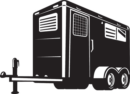 fullbody: illustration of a horse trailer done in retro style viewed from low angle on isolated white background