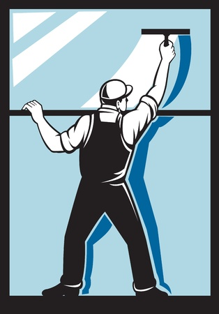cleaning window: illustration of a window washer worker washing  viewed from rear done in retro style