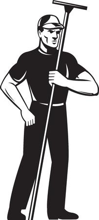 cleaners: illustratie van een glazenwasser schoner werknemer staande houden zuigmond van voren gezien op witte achtergrond Stockfoto