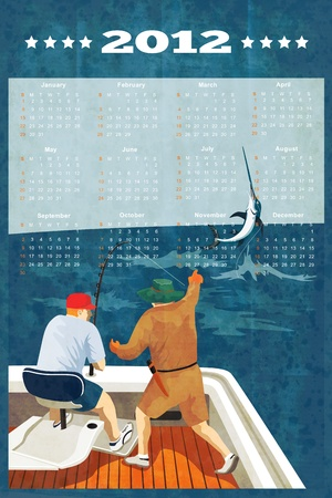 poster calendar 2012 showing Blue Marlin Fish jumping with big game fisherman fishing on boat done in retro style  photo