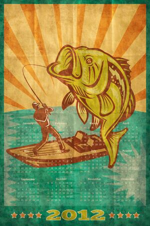 largemouth: poster calendar 2012 showing Largemouth Bass jumping with fly fisherman fishing on boat done in retro style