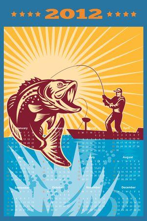largemouth bass: Cartel del calendario de 2012 que muestra el bajo bocazas que salta con la pesca con mosca pescador en el barco hecho en estilo retro