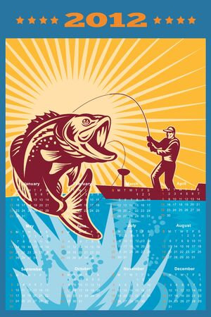 bass fish: poster calendar 2012 showing Largemouth Bass jumping with fly fisherman fishing on boat done in retro style