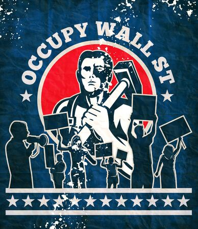 occupy wall street: illustration of a Worker with hammer protester protest placard sign with words occupy wall street