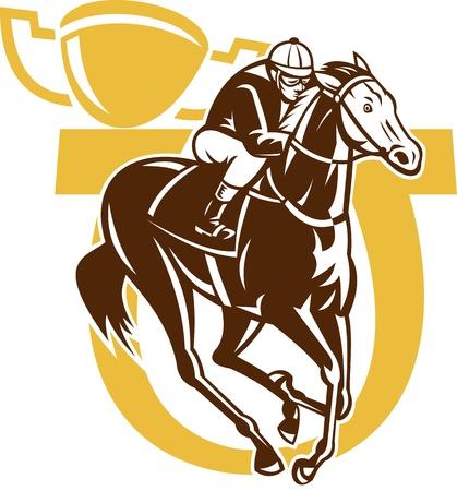 caballos corriendo: ilustración de las carreras de caballos de carreras del jinete con la herradura y la taza de campeón en el fondo hecho en estilo retro grabado en madera Foto de archivo