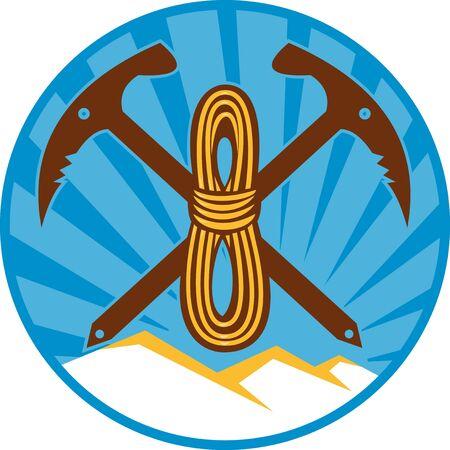 pick ax: illustration of a crossed pick ax rope bundle mountain with sunburst set inside circle pick