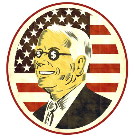 corporate greed: illustration of American businessman with dollar sing on glasses  and flag