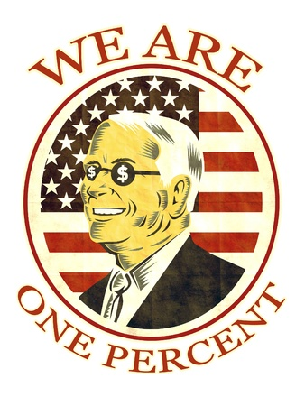 ows: illustration of American businessman with dollar sing on glasses  we are one percent Stock Photo