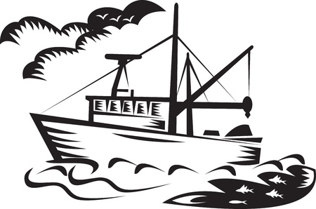 illustration of a commercial fishing boat ship on sea with clouds and fish done in retro woodcut style black and white illustration
