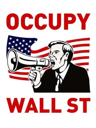 occupy wall street worker bullhorn photo