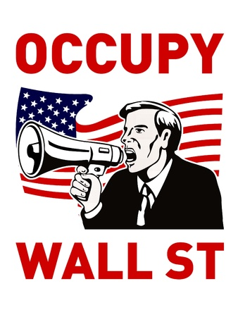 occupy wall street: occupy wall street worker bullhorn