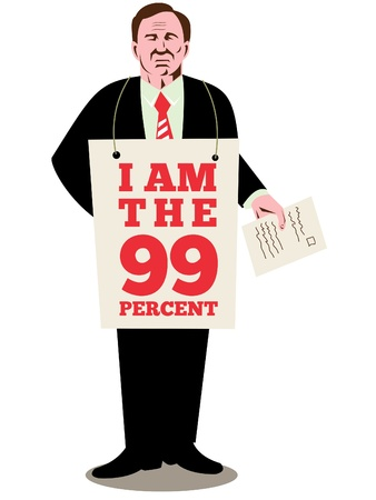 corporate greed: illustration of American male worker protesting